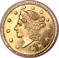 California Fractional Gold, 1854 50C Liberty Round 50 Cents, BG-404, R.7, MS63 PCGS....