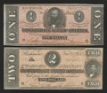 Confederate Notes:1864 Issues, T70 $2 1864 VF-XF. T71 $1 1864 AU.. ... (Total: 2 notes)
