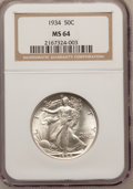 Walking Liberty Half Dollars: , 1934 50C MS64 NGC. NGC Census: (620/962). PCGS Population(874/1347). Mintage: 6,964,000. Numismedia Wsl. Price forproblem...