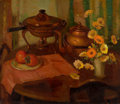 Fine Art - Painting, American:Modern  (1900 1949)  , NELL GERTRUDE WALKER WARNER (American, 1891-1970). Still Lifewith Copper Pot and Flowers. Oil on canvas. 26 x 30 inches...
