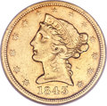 Liberty Half Eagles, 1843-D $5 Medium D AU50 NGC. Variety 10-H....