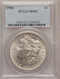 Morgan Dollars: , 1904 $1 MS62 PCGS. PCGS Population (815/2811). NGC Census:(600/2107). Mintage: 2,788,650. Numismedia Wsl. Price for proble...