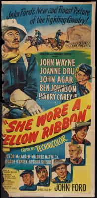 "She Wore a Yellow Ribbon (RKO, 1949). Three Sheet (38"" X 81""). Western"