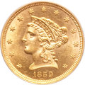 Liberty Quarter Eagles, 1859 $2 1/2 New Reverse, Type Two MS63 PCGS. CAC....