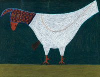 EDDIE ARNING (American, 1898-1992) Folk Chicken Mixed media on paper 18 x 23 inches (45.7 x 58.4
