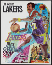 "L.A. Lakers Lot (L.A. Lakers, 1970-1972s). Posters (3) (23"" X 29"", 22.5"" x 35"" and 24"" x 36&quo..."