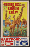 """Movie Posters:Miscellaneous, Ringling Bros. and Barnum and Bailey Circus (5-6 July, 1944). Circus Poster (21"""" X 28""""). Circus.. ..."""