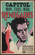 "Movie Posters:Adventure, Renegades (Fox, 1930). Window Card (14"" X 22""). Adventure.. ..."