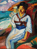 Fine Art - Painting, American:Modern  (1900 1949)  , DAVID DAVIDOVICH BURLIUK (Russian/American, 1882-1967). JapanesePortrait, 1921. Oil on canvas . 24 x 18 inches (61.0 x ...