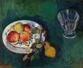 Paintings, SUZANNE VALADON (French, 1865-1938). Still Life with Fruit and Glass, 1910. Oil on canvas. 20 x 24-1/4 inches (50.8 x 61...