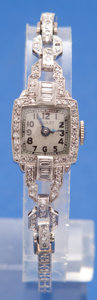 Timepieces:Wristwatch, Nicolet Platinum & Diamonds Wristwatch With a 14k White GoldBand. ...