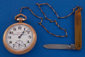 Timepieces:Pocket (post 1900), Hamilton 992 With Pocket Watch With Chain & Knife. ...