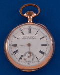Timepieces:Pocket (pre 1900) , Waltham 14 Size 14k Rose Gold Unusual Private Label. ...