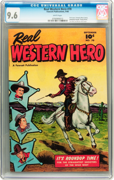 Real Western Hero #70 (#1) (Fawcett, 1948) CGC NM+ 9.6 White pages....