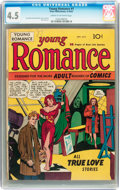 Golden Age (1938-1955):Romance, Young Romance Comics #1 (Prize, 1947) CGC VG+ 4.5 Cream tooff-white pages....