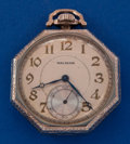 Timepieces:Pocket (post 1900), Waltham 14k White Gold Octagon 12 Size Pocket Watch. ...