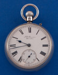 "Timepieces:Pocket (pre 1900) , J.W. Benson Sterling Cased ""The Bank Watch"". ..."