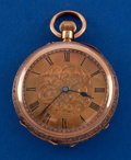 Timepieces:Pocket (pre 1900) , Swiss 18k Gold Fancy Dial 40 mm Watch. ...