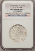 Seated Half Dollars, 1842-O 50C Medium Date, Large Letters NGC. Ex: Shipwreck Effect, SSNew York. Display box also included. Mintage: 754,000. ...