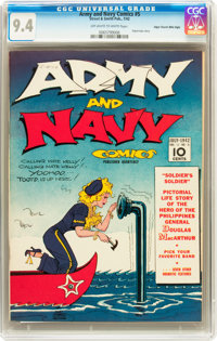 Army and Navy Comics #5 Mile High pedigree (Street & Smith, 1942) CGC NM 9.4 Off-white to white pages