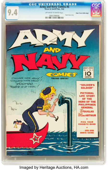 Army and Navy Comics #5 Mile High pedigree (Street & Smith, 1942) CGC NM 9.4 Off-white to white pages....