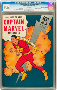 Captain Marvel Adventures #3 Mile High pedigree (Fawcett, 1941) CGC NM+ 9.6 White pages