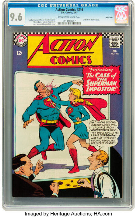 Action Comics #346 Twin Cities pedigree (DC, 1967) CGC NM+ 9.6 Off-white to white pages....