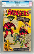 Silver Age (1956-1969):Superhero, The Avengers #2 Twin Cities pedigree (Marvel, 1963) CGC NM- 9.2White pages....
