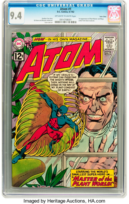 The Atom #1 Twin Cities pedigree (DC, 1962) CGC NM 9.4 Off-white to white pages....