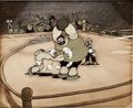 Animation Art:Production Cel, Let's You and Him Fight Popeye Animation Production CelSet-Up with Background Animation Art (Paramount, 1934)....