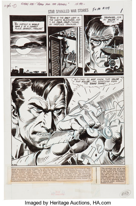 """Joe Kubert Star Spangled War Stories #149 Complete 15-page Enemy Ace Story """"Reach for the Heavens"""" Original Art (D..."""