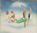 Animation Art:Production Cel, Goofy The Art of Skiing Production Cel and CourvoisierBackground Animation Art (Walt Disney, 1941)....