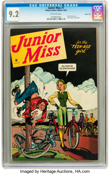 Junior Miss #1 Carson City pedigree (Timely, 1944) CGC NM- 9.2 Off-white pages....