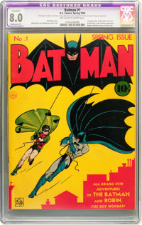 Batman #1 (DC, 1940) CGC Apparent VF 8.0 Moderate (P) Off-white to white pages