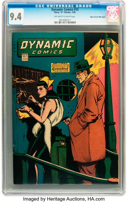 Dynamic Comics #15 Mile High pedigree (Chesler, 1945) CGC NM 9.4 Off-white to white pages....