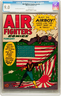 Air Fighters Comics V2#5 (Hillman Fall, 1944) CGC VF/NM 9.0 Off-white pages