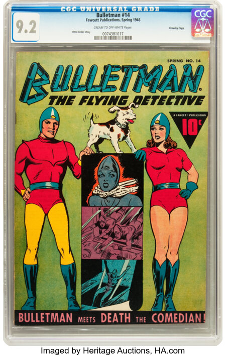 Bulletman #14 Crowley Copy (Fawcett, 1946) CGC NM- 9.2 Cream to off-white pages....