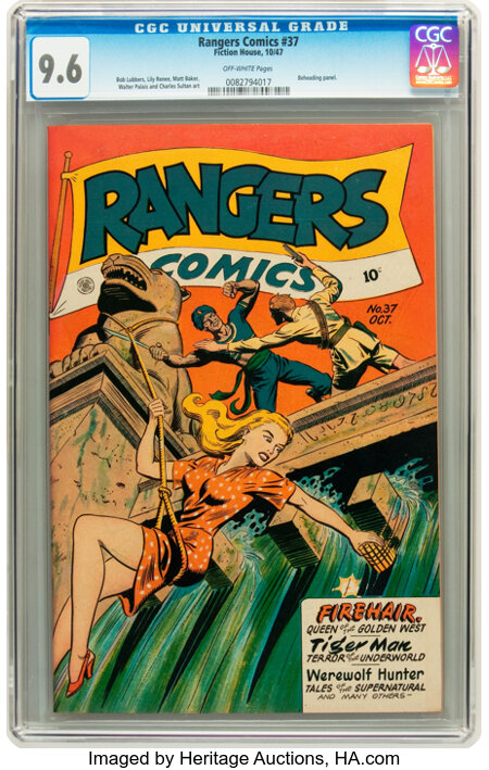 Rangers Comics #37 (Fiction House, 1947) CGC NM+ 9.6 Off-white pages....