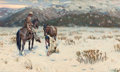 Western:Contemporary, TIM SOLLIDAY (American, b. 1952). Indian and Cowboy Tracking Horse Prints in Snow. Oil on canvas. 18 x 30 inches (45.7 x...