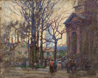 PAUL CORNOYER (American, 1864-1923) A Gloucester Street Oil on board 8 x 10 inches (20.3 x 25.4 c