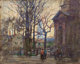 PAUL CORNOYER (American, 1864-1923) A Gloucester Street Oil on board 8 x 10 inches (20.3 x 25.4 cm) Signed lower lef