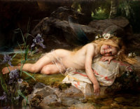 PAUL HERMANN WAGNER (German, 1852-1937) Forest Nymph Oil on canvas 34 x 43-1/2 inches (86.4 x 110