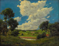 Fine Art - Painting, American:Modern  (1900 1949)  , E.M. STACK (American, 20th Century). High Clouds above Scranton,Pennsylvania, 1917. Oil on cardboard. 12 x 14-1/2 inche...