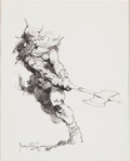 Original Comic Art:Sketches, Frank Frazetta Barbarian with an Axe Drawing Original Art (c. 1970s)....