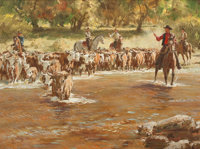 DONALD TEAGUE (American, 1897-1991) Cattle Crossing Oil on canvas 18 x 24 inches (45.7 x 61.0 cm)