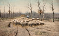 Fine Art - Painting, European:Antique  (Pre 1900), ANTON MAUVE (Dutch, 1838-1888). Herding the Sheep.Watercolor and gouache on board . 13 x 21-1/4 inches (33.0 x 54.0cm)...