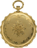 Timepieces:Pocket (pre 1900) , Swiss Unique 18k Scalloped Cased Key Wind, circa 1870. ...
