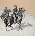 Western, EDWARD BOREIN (American, 1873-1945). Pony Soldiers, 1906. Oil en grisaille on buff paper. 18 x 17 inches (45.7 x 43.2 cm...