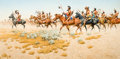 Paintings, FRANK MCCARTHY (American, 1924-2002). Kiowa on the Southern Plains. Oil on canvas. 20 x 40 inches (50.8 x 101.6 cm). Sig...