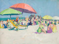 American:Modern, JANE PETERSON (American, 1876-1965). Beach Scene (FourUmbrellas). Oil on canvas board. 12 x 16 inches (30.5 x 40.6cm)...